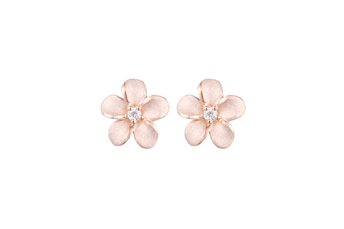 Rose Gold Plumeria Earrings with Diamonds