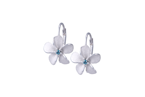 White Gold Plumeria Lever Back Earrings