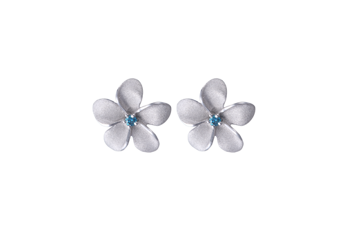 White Gold Plumeria Earrings
