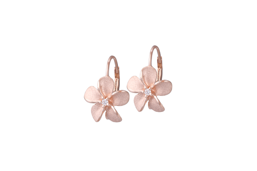 Rose Gold Plumeria Lever Back Earrings