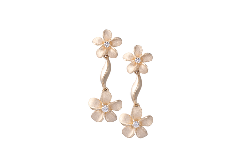 Dangling Plumeria Earrings with Diamonds