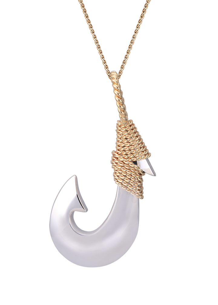 Yellow Gold and Silver Fish Hook Pendant