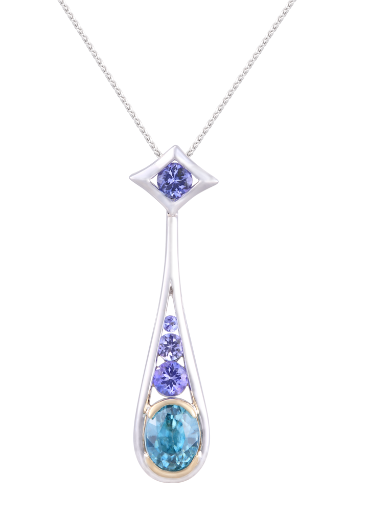 White and Yellow Gold Lanikai Pendant with Blue Zircon