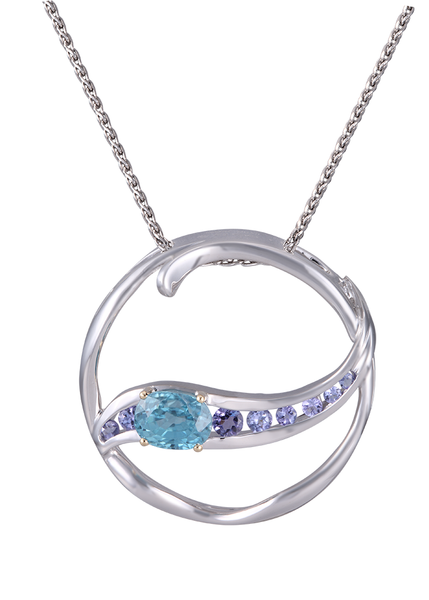 Circle White and Yellow Gold Lanikai Pendant with Tanzanite
