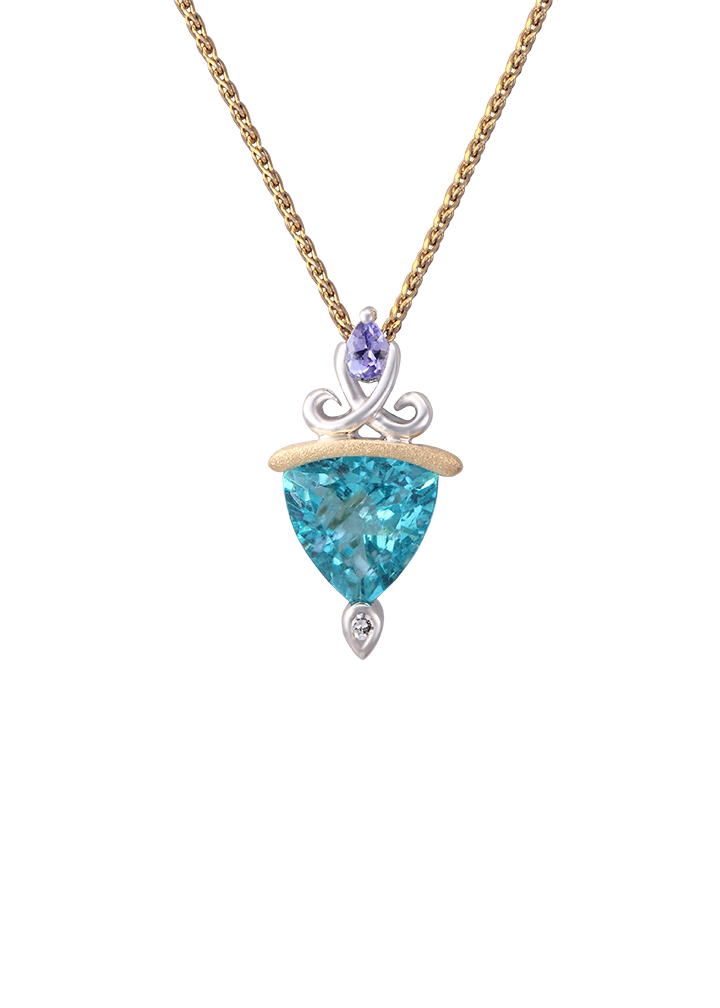 **White and Yellow Gold Lanikai Pendant with Tanzanite