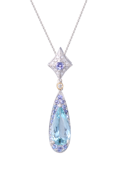 **White and Yellow Gold Lanikai Pendant with Aquamarine