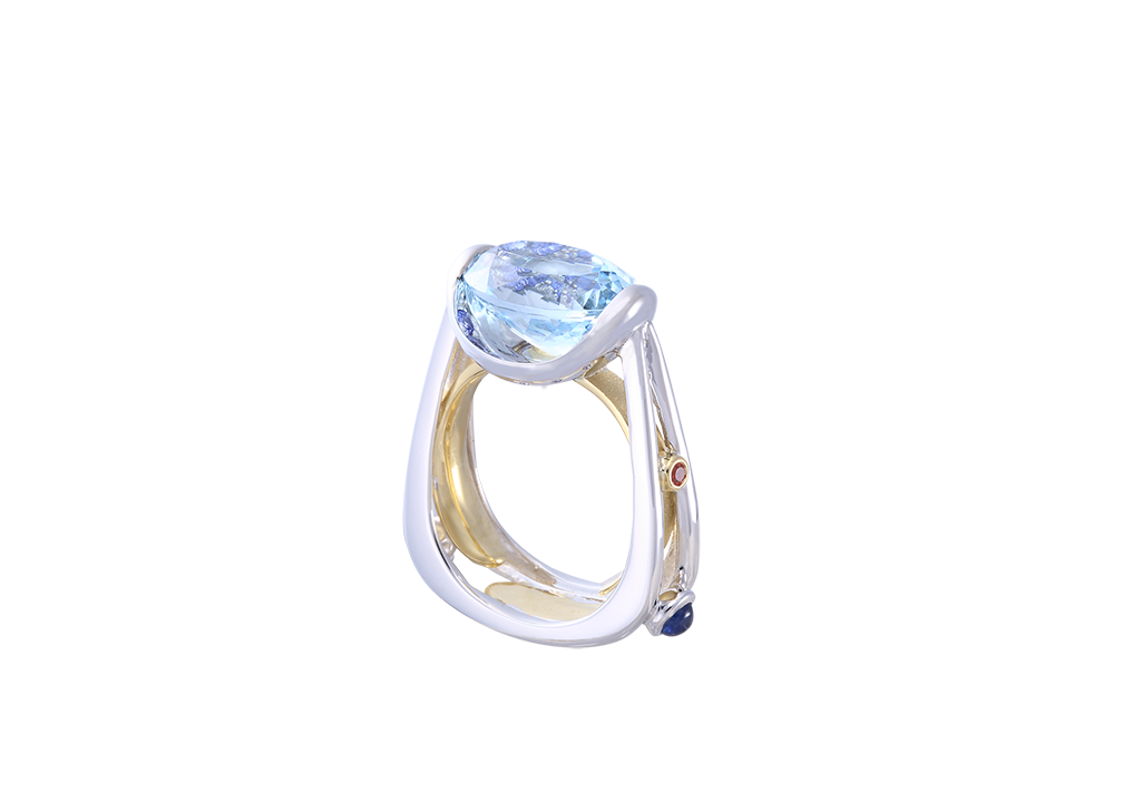 **White and Yellow Gold Lanikai Ring with Aquamarine