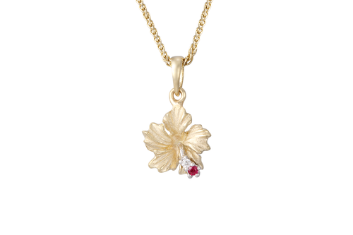 Hibiscus Pendant with Diamonds and Ruby