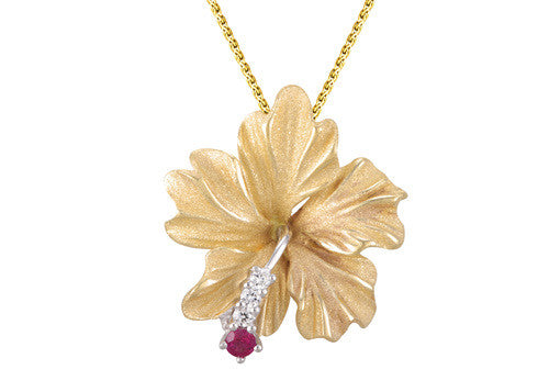 Yellow Gold Hibiscus Pendant with Diamonds and Ruby