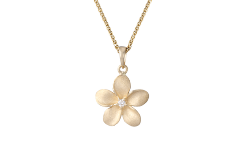 **Plumeria Pendant with Diamonds