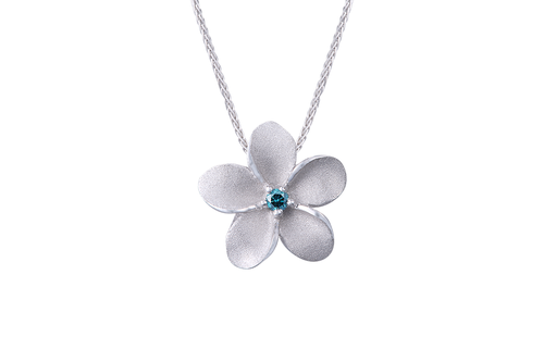 White Gold Plumeria Pendant with Blue Diamond