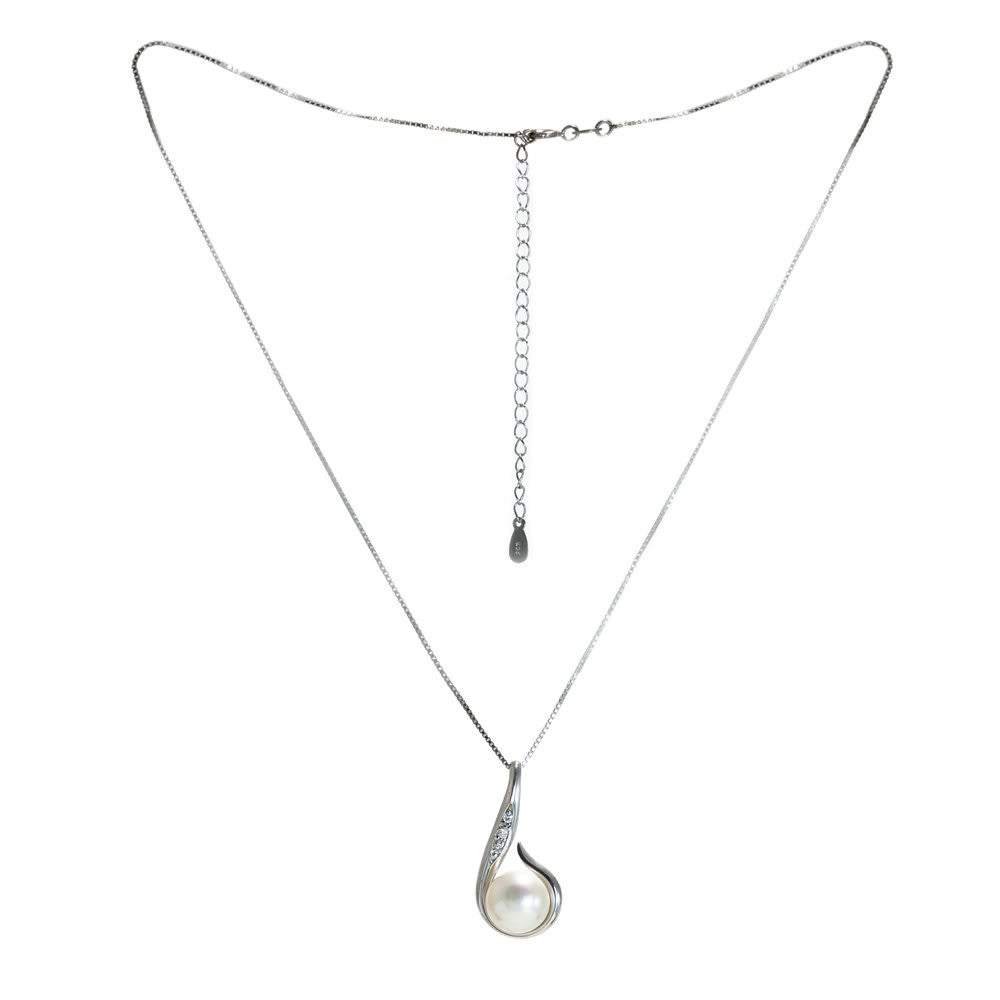 """Kauai Stars"" Fresh Water Cultured Pearl and Cubic Zirconia Pendant"