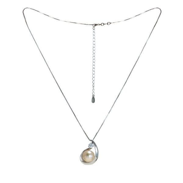 """Lani Hook"" Fresh Water Cultured Pearl and Cubic Zirconia Pendant"