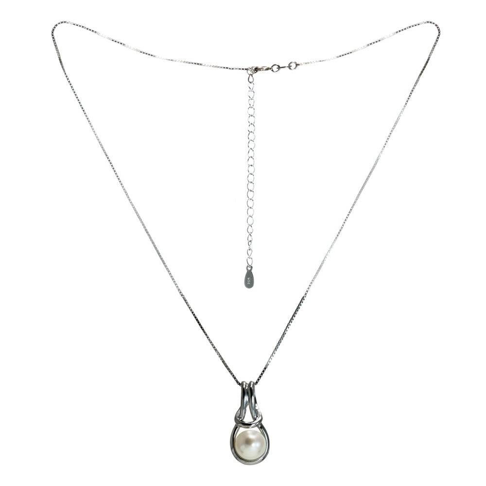 """Love Knot"" Fresh Water Cultured Pearl Pendant"