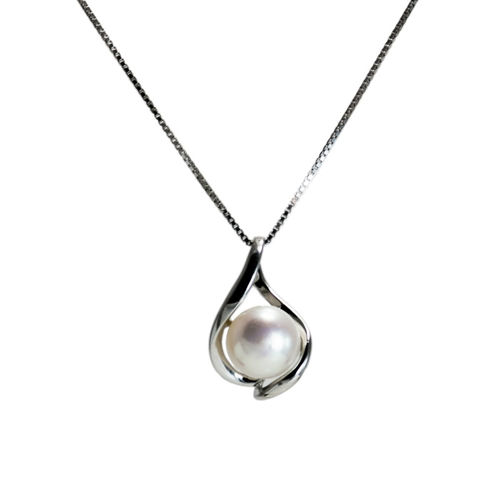 """Wave"" Fresh Water Cultured Pearl Pendant"