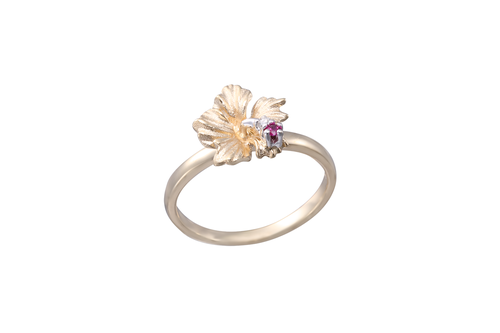 10mm Yellow Gold Hibiscus Ring