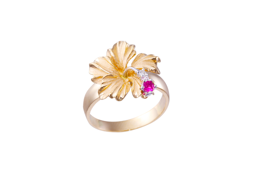 Hibiscus Ring with Diamonds and Ruby
