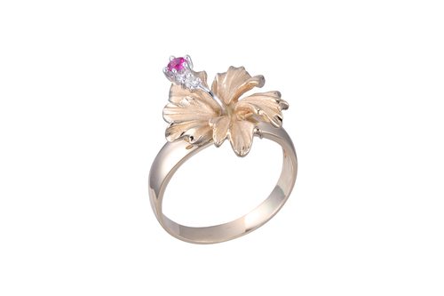 Yellow Gold Hibiscus Ring with Diamonds and Ruby