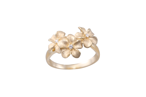 **8mm Plumeria Ring with Diamonds