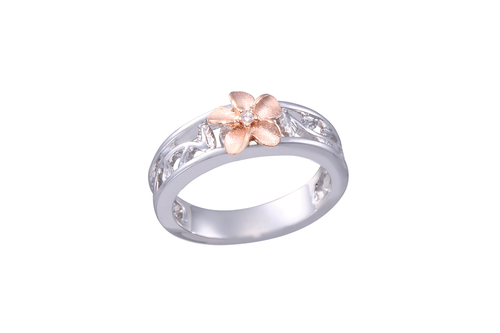 8mm White and Rose Gold Plumeria Ring