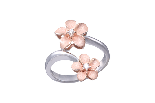 **White and Rose Gold Double Plumeria Ring