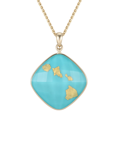 Treasure Island Turquoise Pendant - 4 Hawaiian Islands