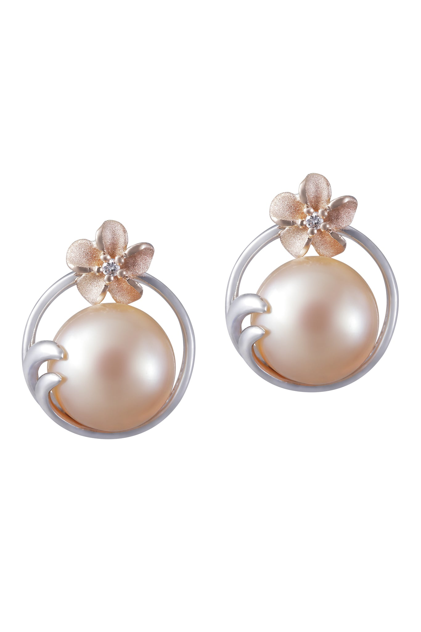 Plumeria and 9-9.5mm Peach Fresh Water Cultured Pearl Earrings