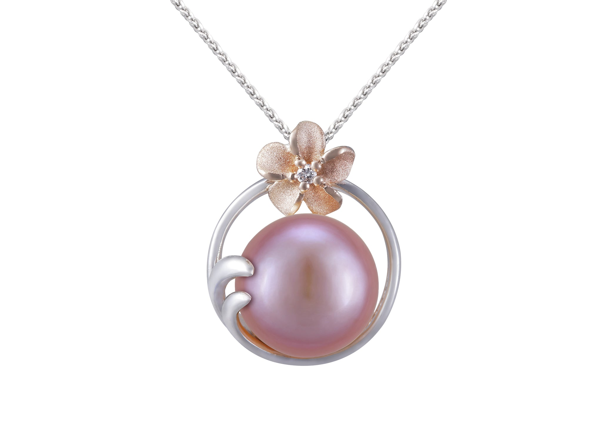 Plumeria and 9-9.5mm Pink Fresh Water Cultured Pearl Pendant