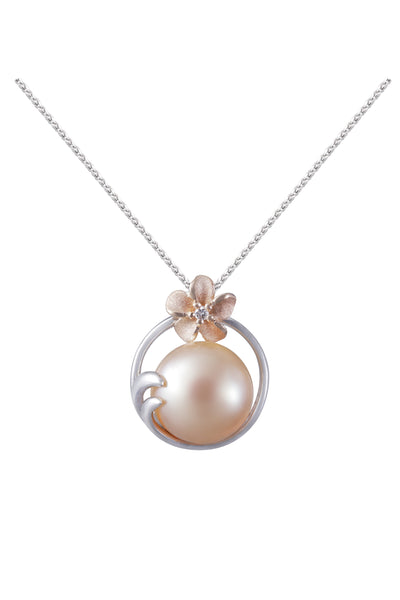 Plumeria and 9-9.5mm Peach Fresh Water Cultured Pearl Pendant