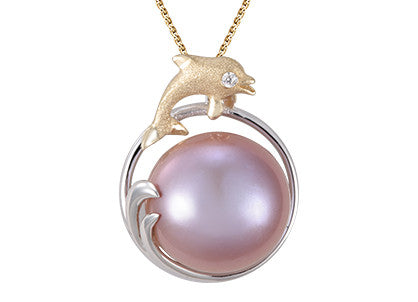 **Dolphin and Pink Fresh Water Cultured Pearl Pendant
