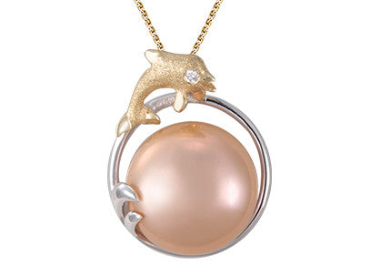 **Dolphin and Peach Fresh Water Cultured Pearl Pendant