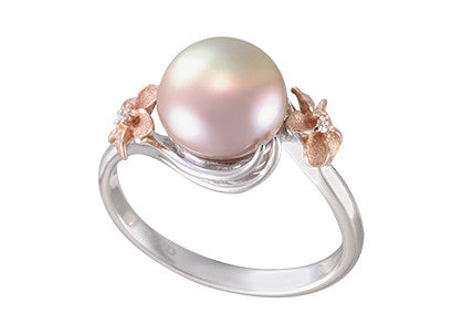 Plumeria and Peach 9-9.5mm Fresh Water Cultured Pearl Ring