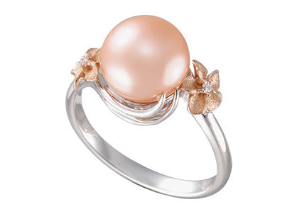 Plumeria and 9-9.5mm Peach Fresh Water Cultured Pearl Ring