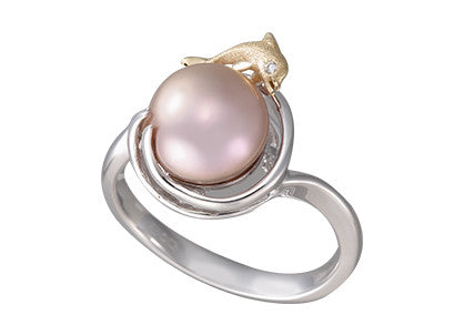 **Dolphin and Pink Fresh Water Cultured Pearl Ring