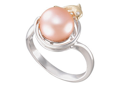 **Dolphin and Peach Fresh Water Cultured Pearl Ring
