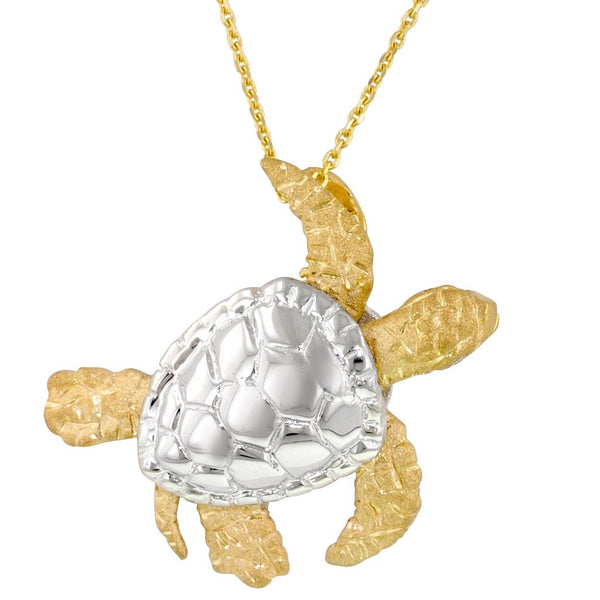 Yellow Gold Turtle Pendant with Diamonds