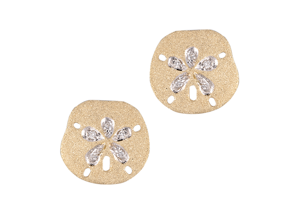 15mm Sand Dollar Earrings with Diamonds