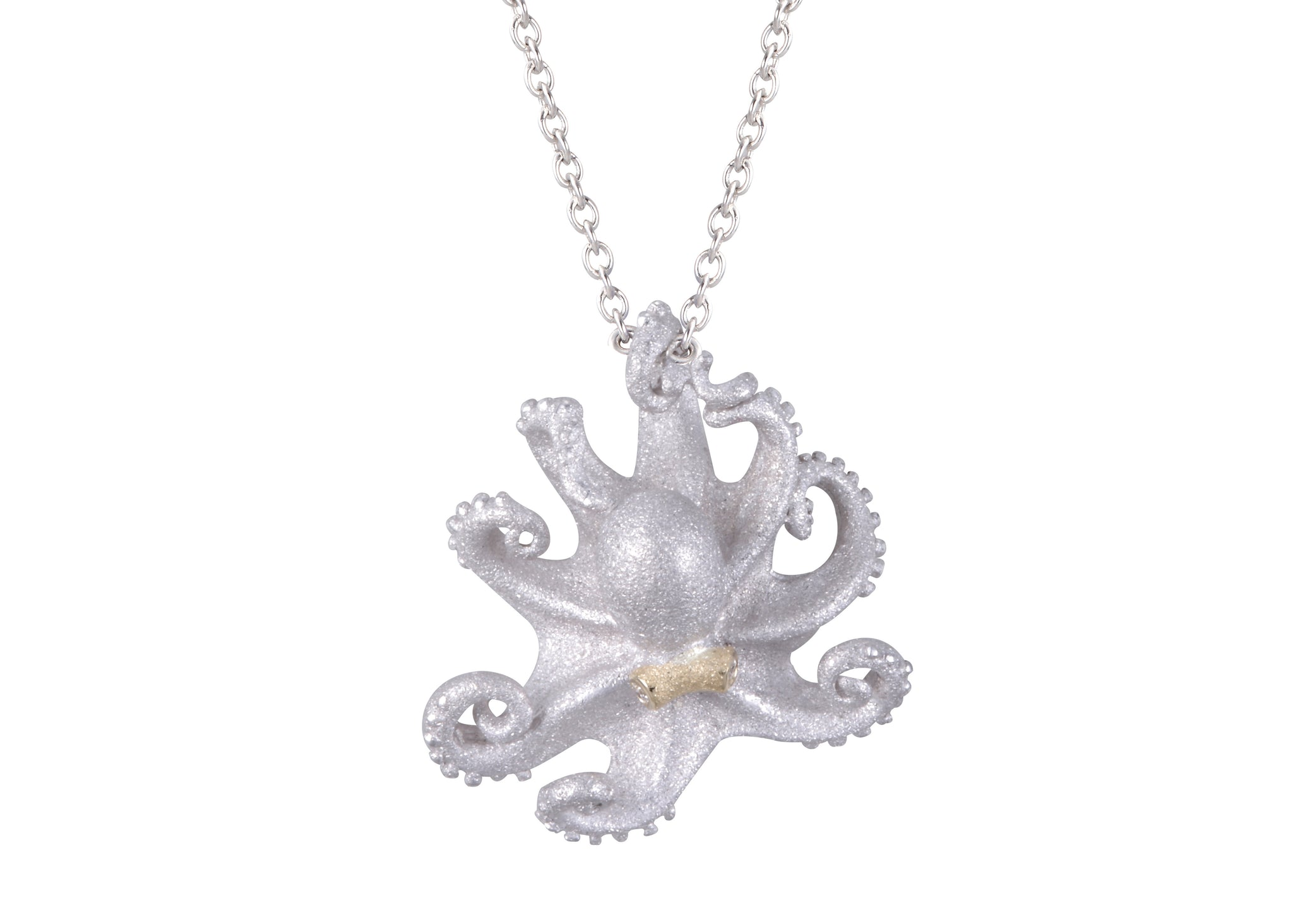 Silver and Yellow Gold 21mm Octopus Pendant