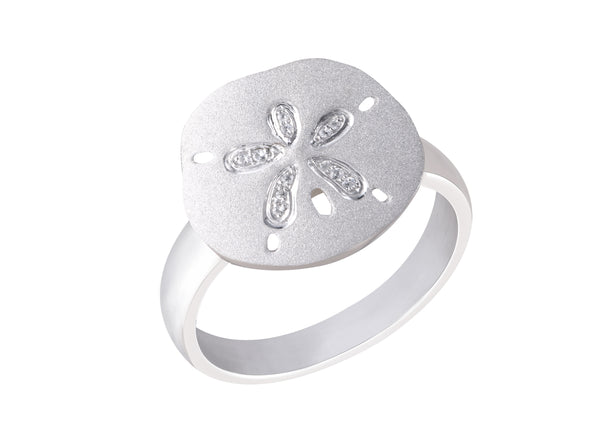 15mm Precious Silver Sand Dollar Ring with White Sapphires