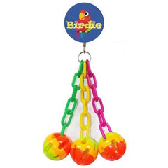 Birdie Medium 3 Balls with Plastic Chains 29 x 12cm. Aquatic Supplies Australia