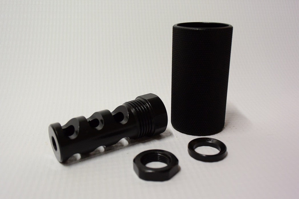 Shielded Tri Chamber Muzzle brake, Black Steel, 5/8-24 and 1/2-28