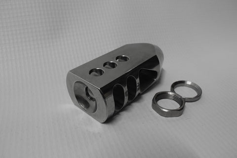 Tanker Style Muzzle brake, Polished Stainless Steel or Nitrite Blacken Steel, 5/8-24