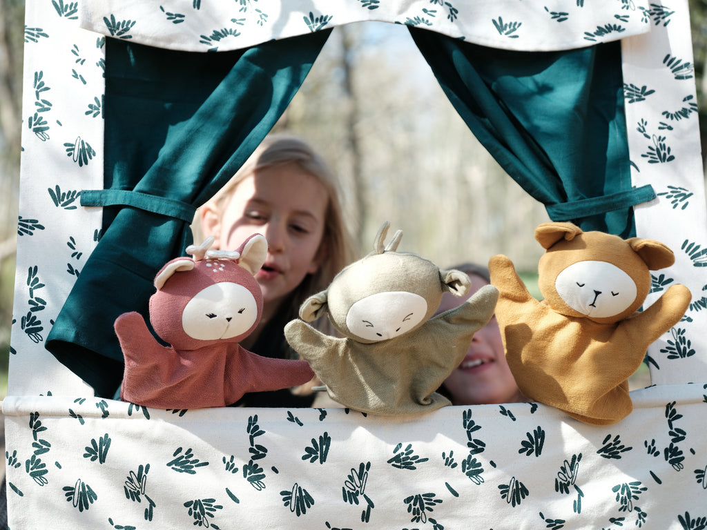 Use this story as inspiration to make up your own lines and scenery for our new Puppet Theatre