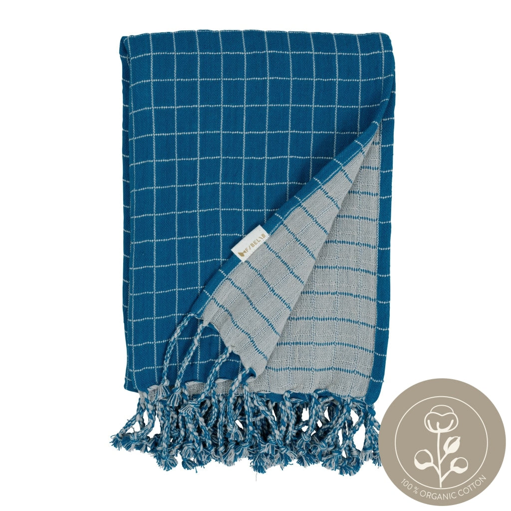 Baby Blanket Grid Blight Blue Color