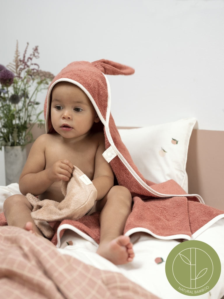 Hooded Baby Towel - Bunny - Old Rose
