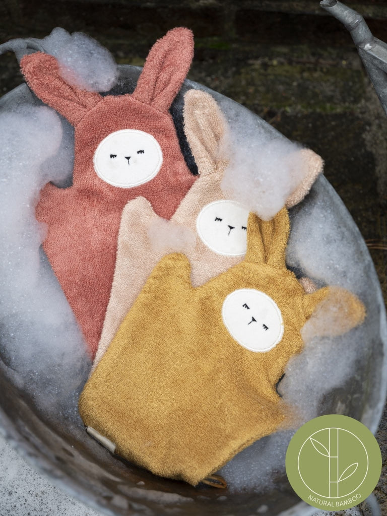Bath Mitts - Bunny - Old Rose Mix - 3 pack