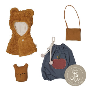 doll clothes set bear cape