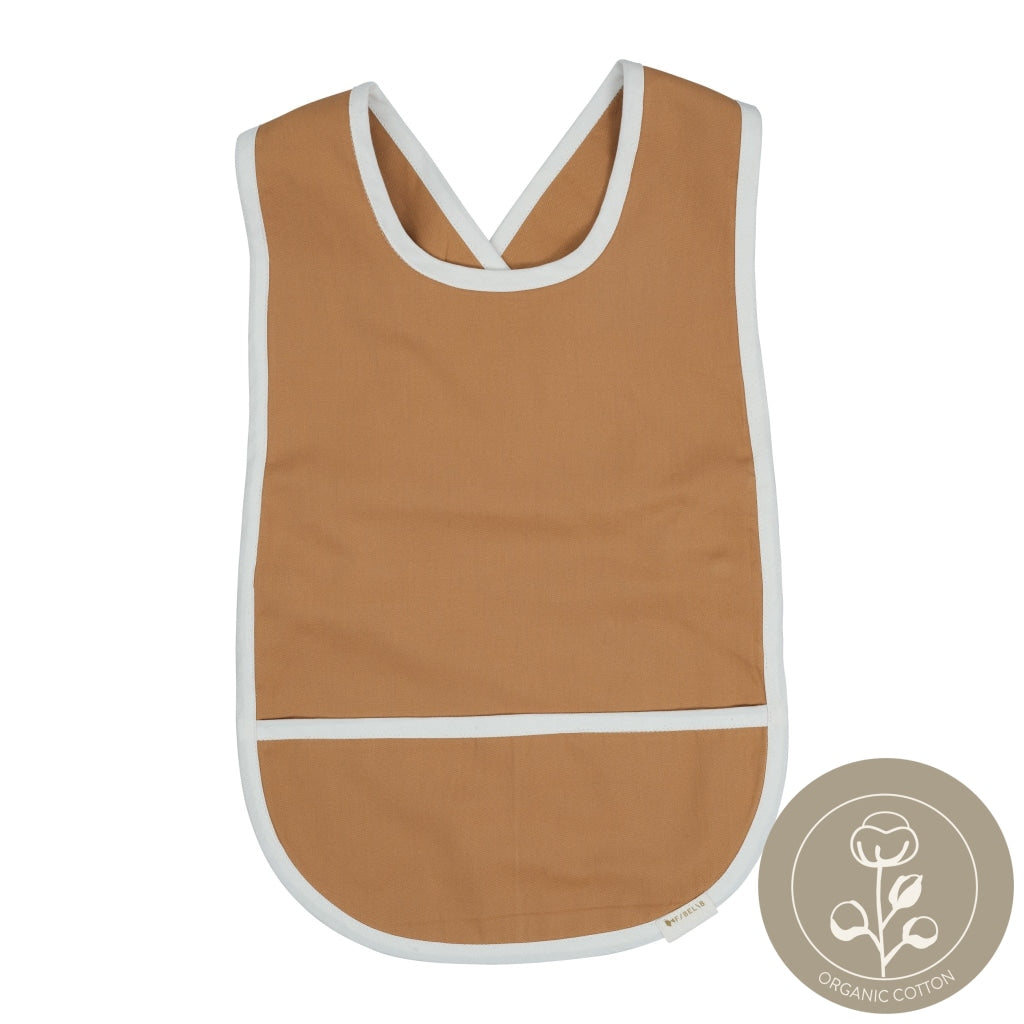 Cross back bib ochre color Fabelab