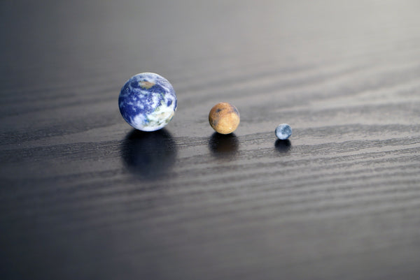 Tiny Earth, Mars & Moon to scale
