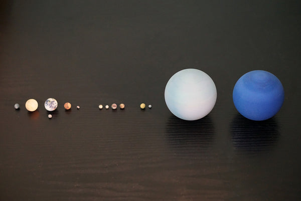 The Solar System & Major Moons (1:700,000,000)